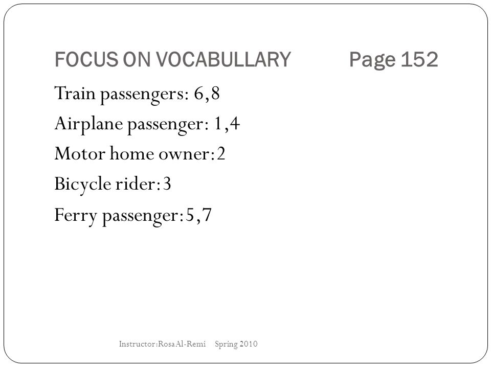 FOCUS ON VOCABULLARY Page 152