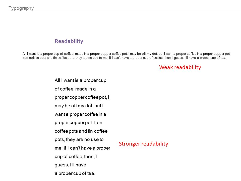 Readability Weak readability Stronger readability Typography