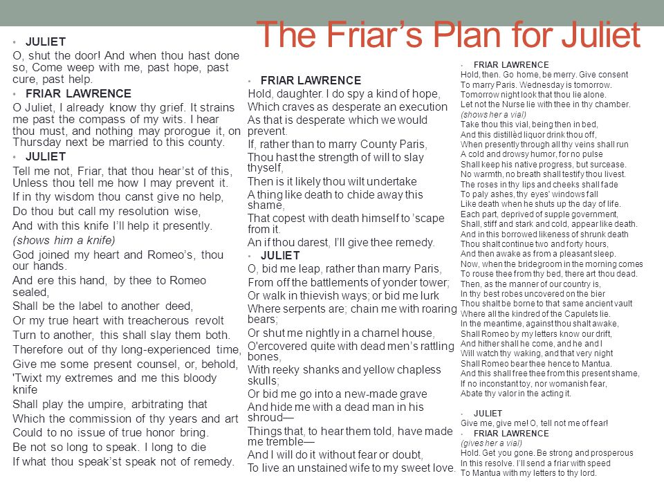 The Friar's Plan for Juliet