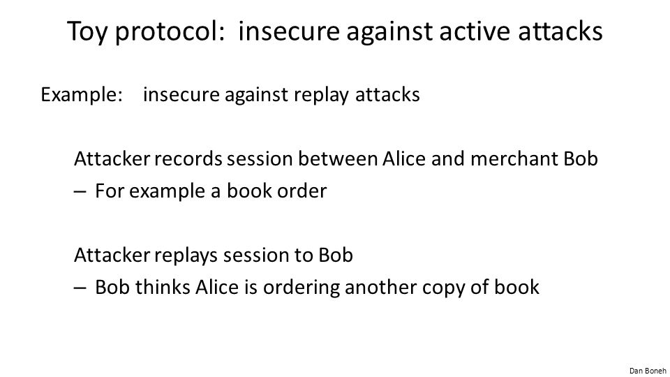 Toy protocol: insecure against active attacks