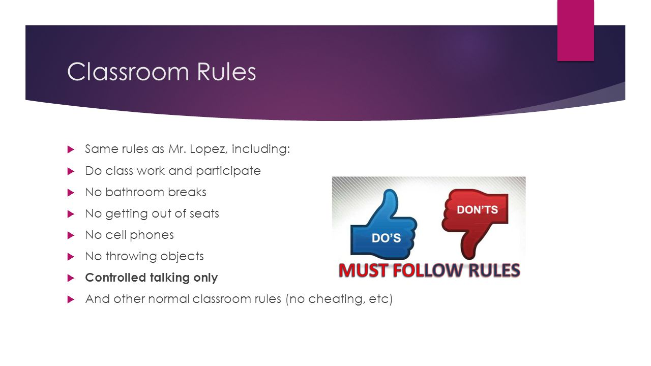 Classroom Rules Same rules as Mr. Lopez, including: