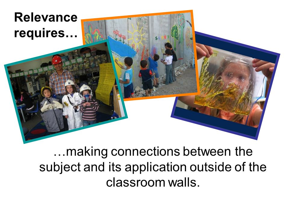 Relevance requires… …making connections between the subject and its application outside of the classroom walls.