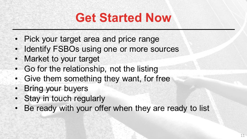 Get Started Now Pick your target area and price range