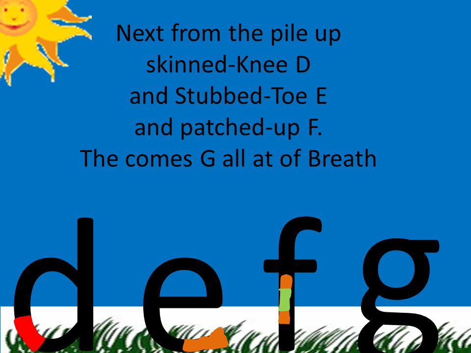Next from the pile up skinned-Knee D and Stubbed-Toe E and patched-up F. The comes G all at of Breath