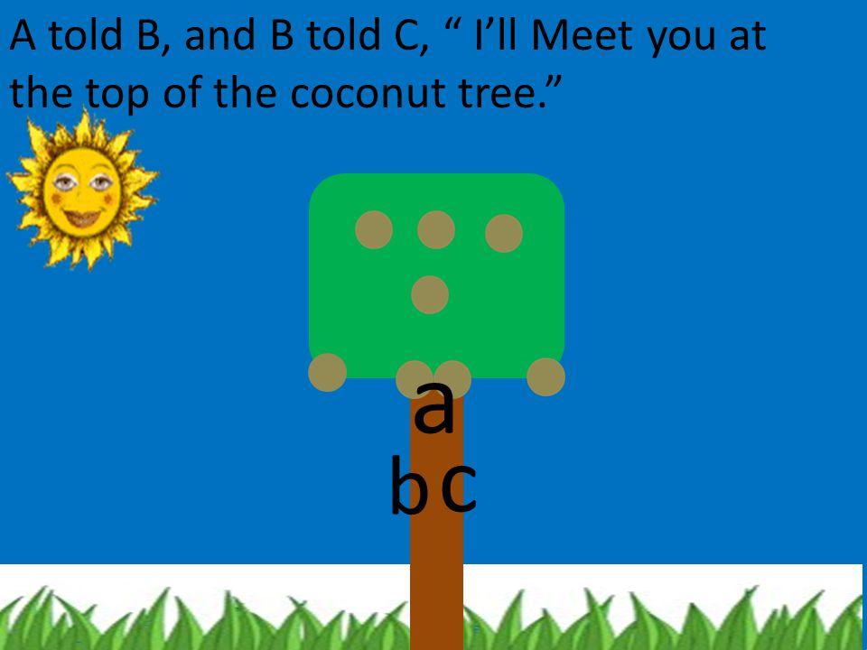A told B, and B told C, I'll Meet you at the top of the coconut tree