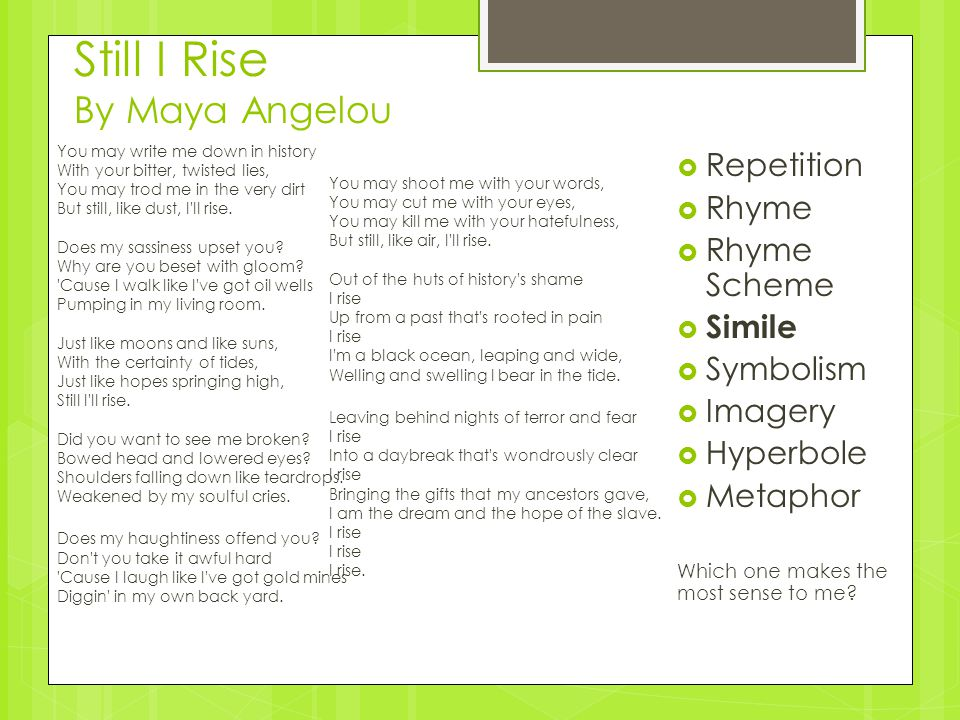still i rise an analysis Still i rise by maya angelou english literature essay print reference this published: 23rd march, 2015 still i rise by maya angelou you may write me down in.