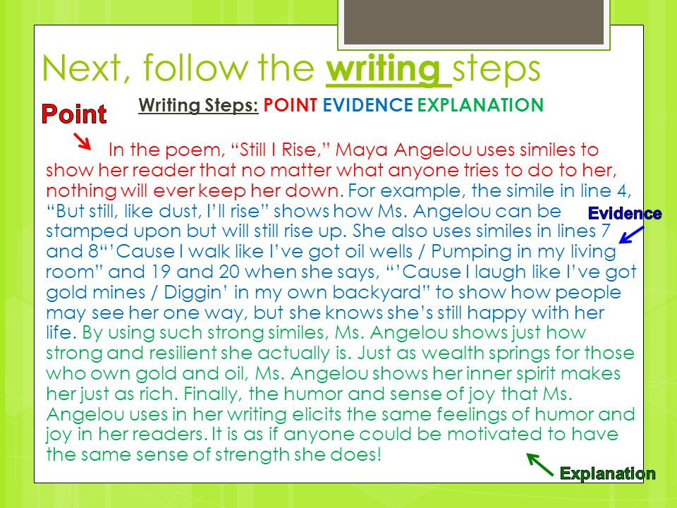 Next, follow the writing steps