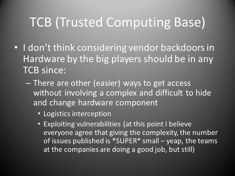 TCB (Trusted Computing Base)