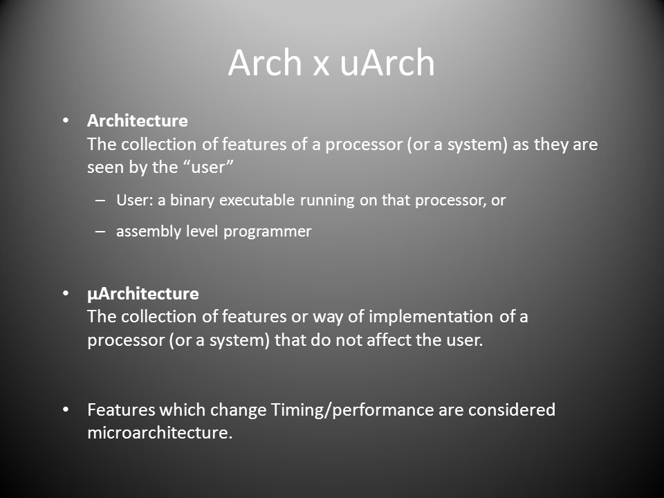 Arch x uArch Architecture The collection of features of a processor (or a system) as they are seen by the user