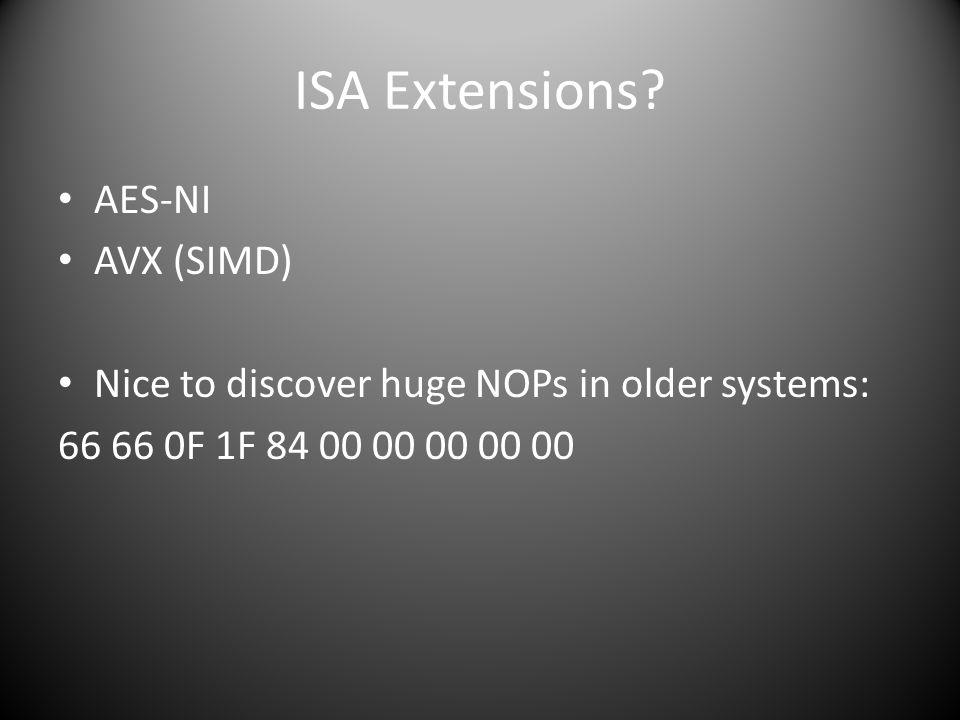 ISA Extensions AES-NI AVX (SIMD)