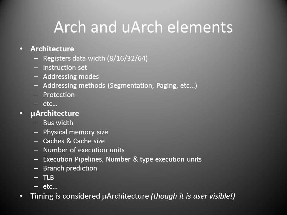 Arch and uArch elements