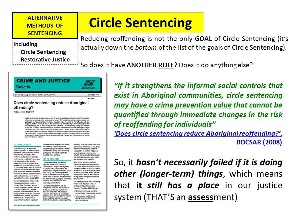 ALTERNATIVE METHODS OF SENTENCING