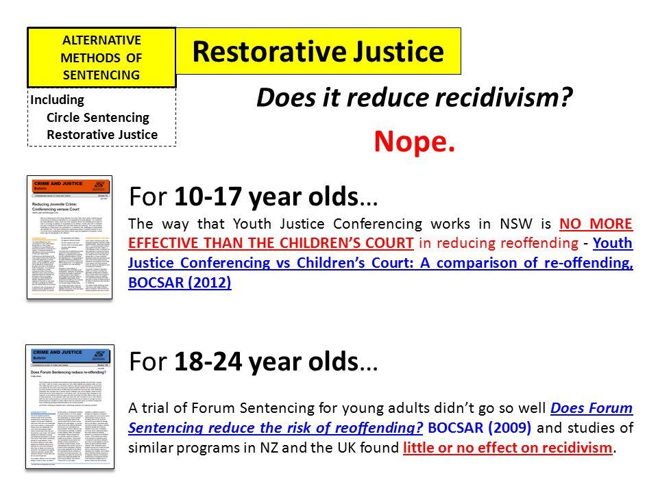 ALTERNATIVE METHODS OF SENTENCING Does it reduce recidivism