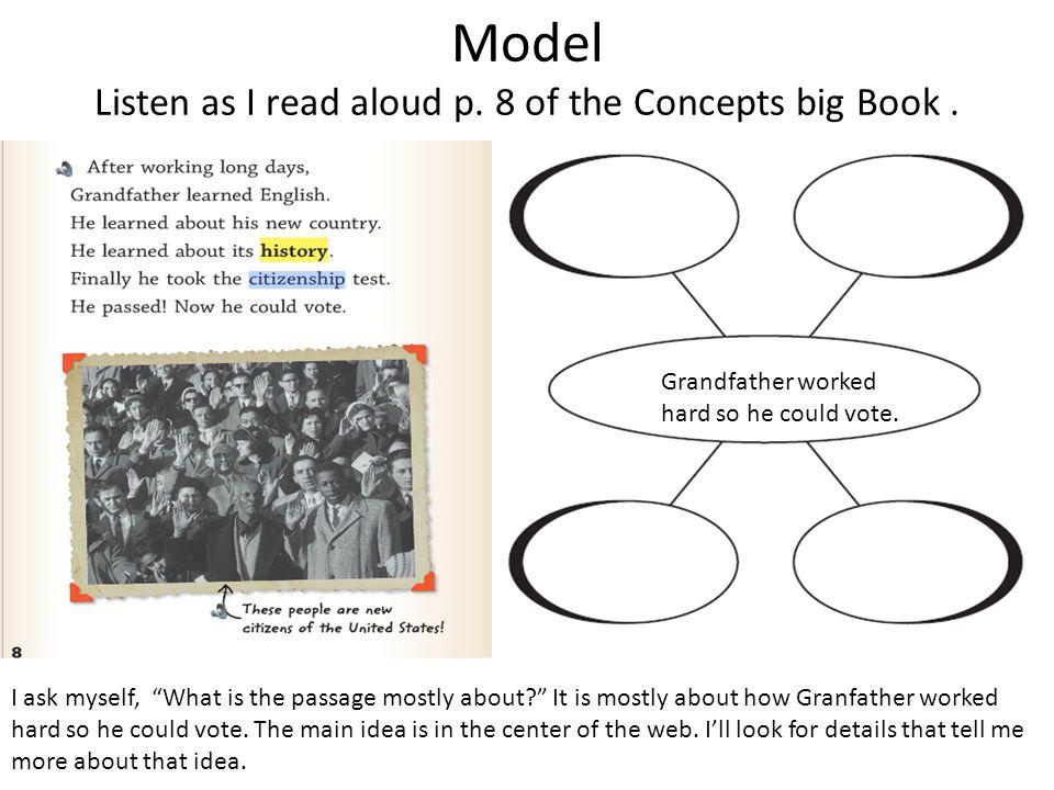 Model Listen as I read aloud p. 8 of the Concepts big Book .