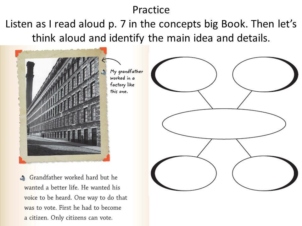 Practice Listen as I read aloud p. 7 in the concepts big Book