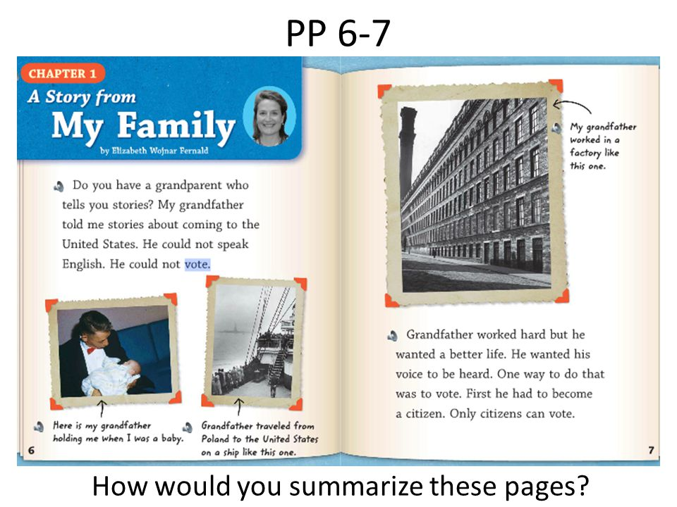 PP 6-7 How would you summarize these pages