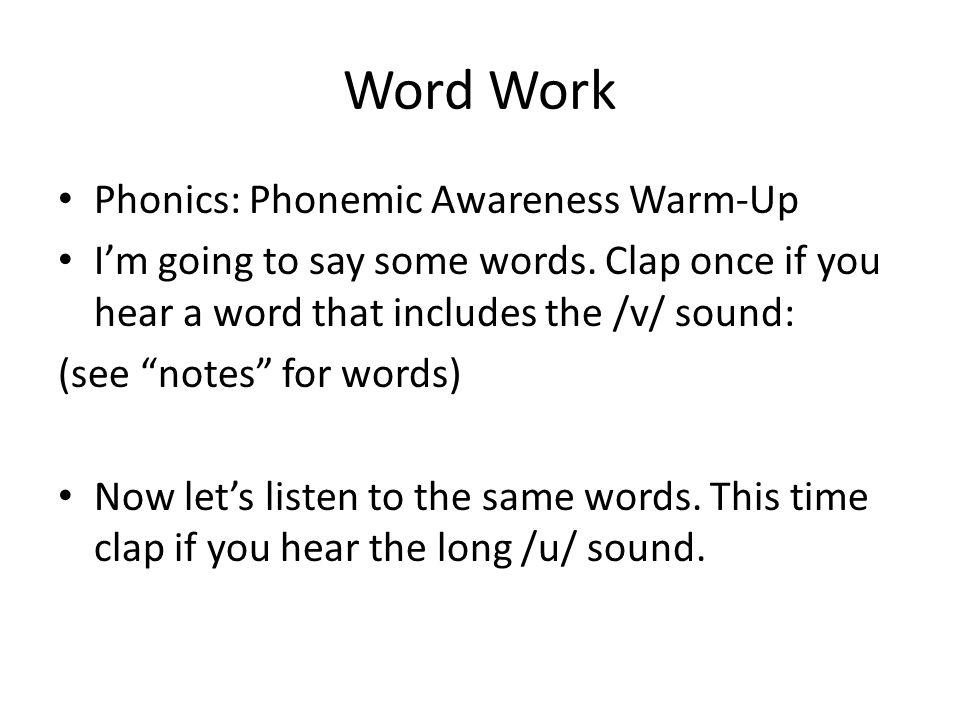 Word Work Phonics: Phonemic Awareness Warm-Up