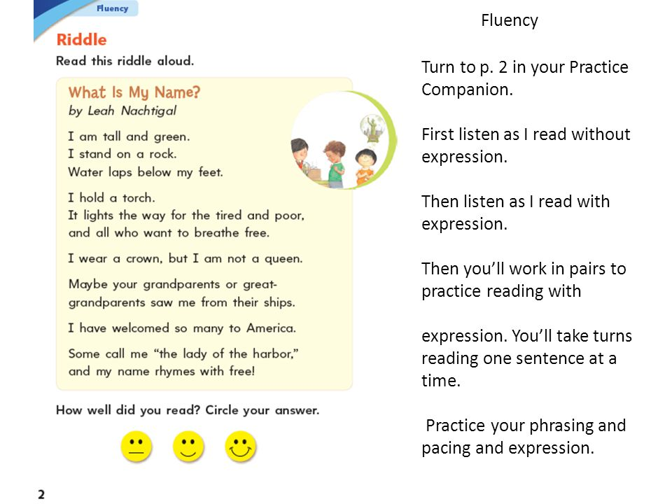 Fluency Turn to p. 2 in your Practice Companion