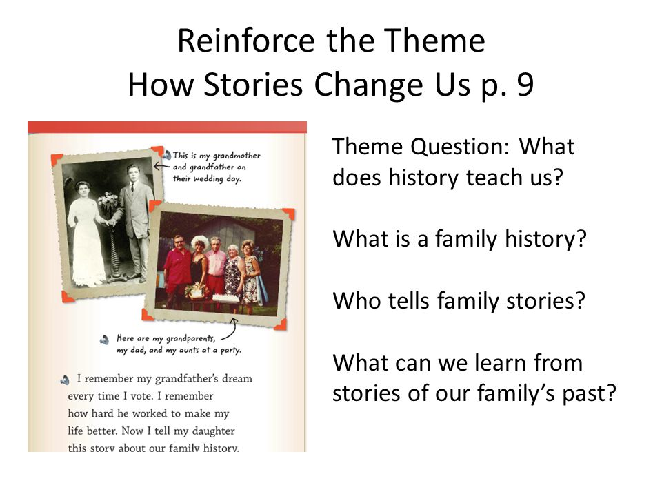 Reinforce the Theme How Stories Change Us p. 9