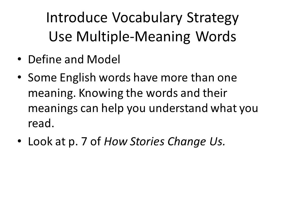 Introduce Vocabulary Strategy Use Multiple-Meaning Words