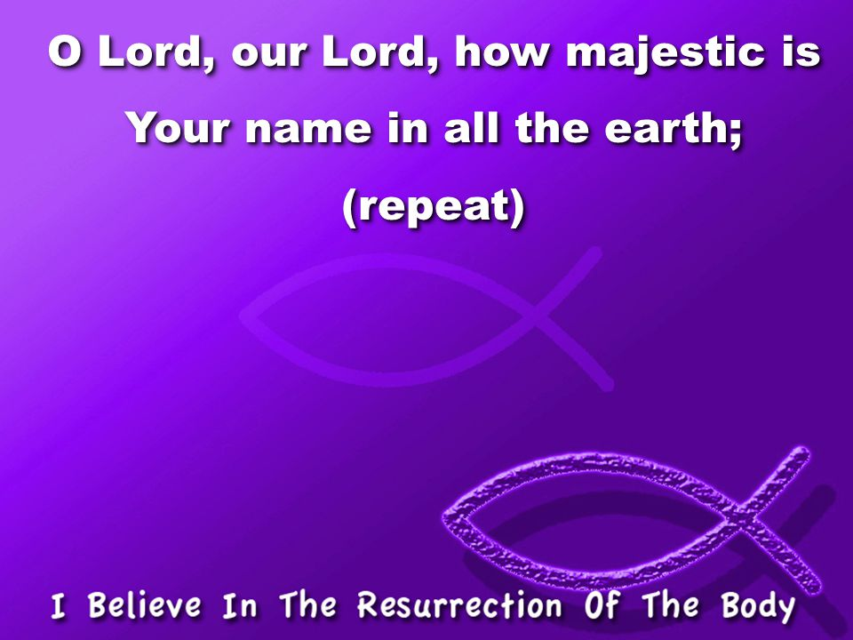 O Lord, our Lord, how majestic is Your name in all the earth; (repeat)