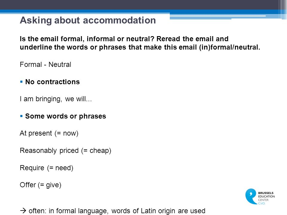 Asking about accommodation