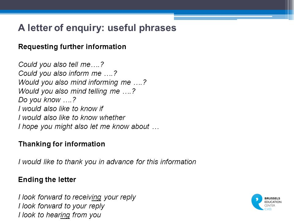 A letter of enquiry: useful phrases