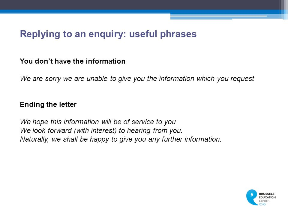 Replying to an enquiry: useful phrases