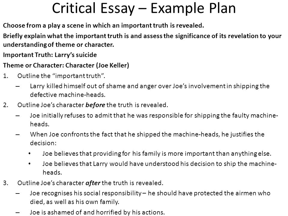 all my sons critical essay question ppt video online  2 critical essay example plan
