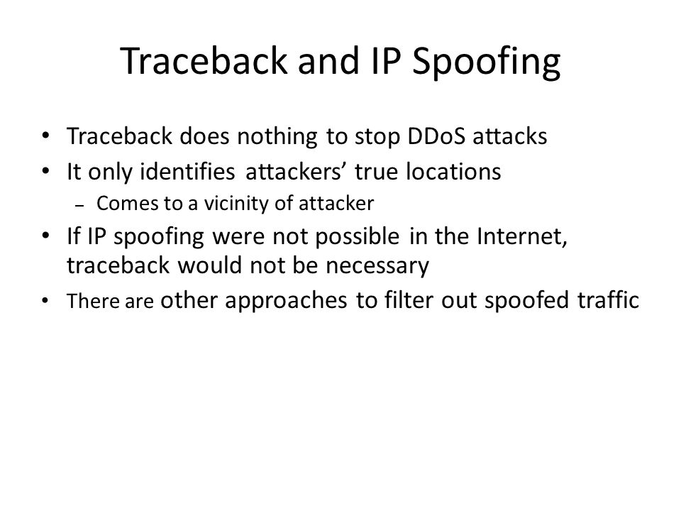 Traceback and IP Spoofing