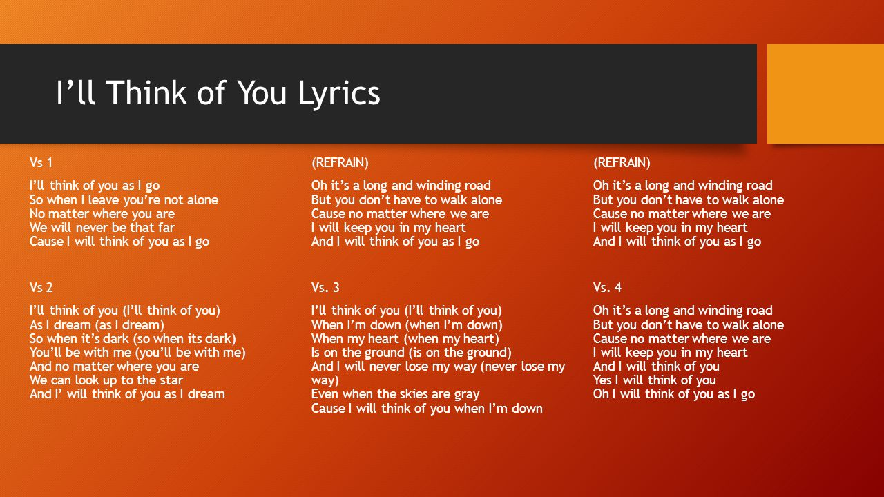 I'll Think of You Lyrics