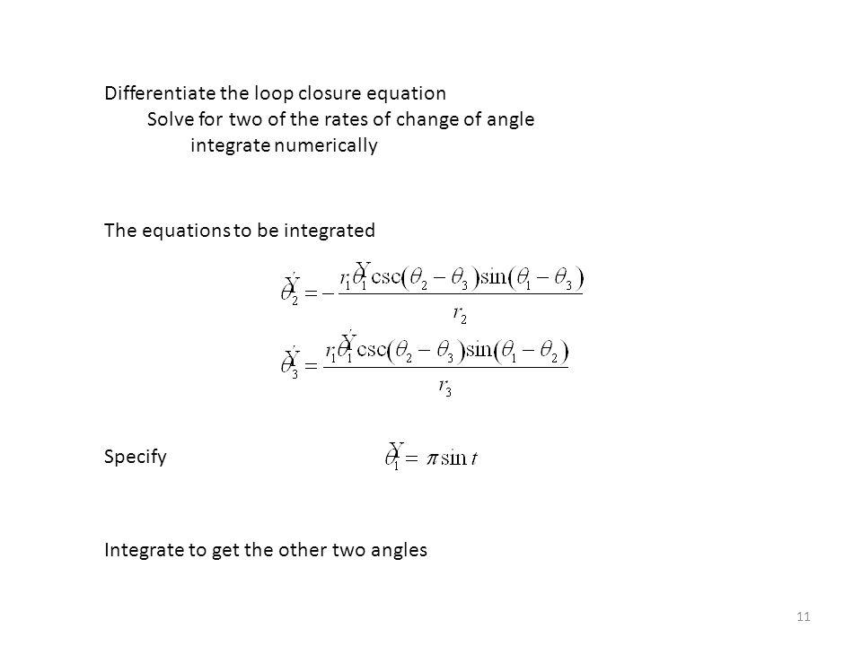 Differentiate the loop closure equation