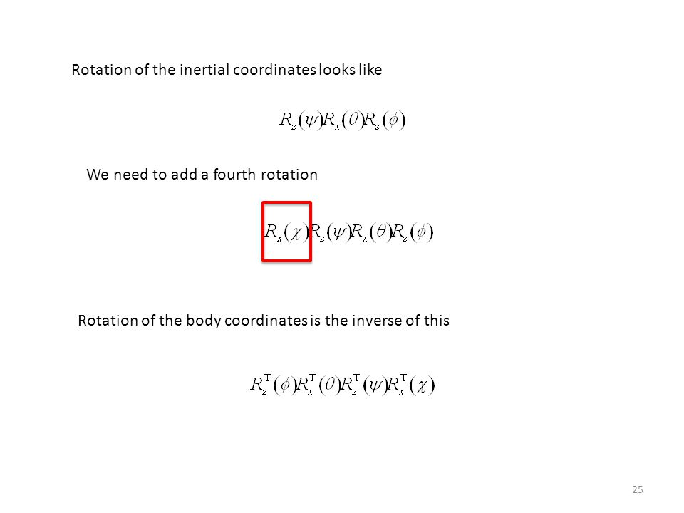 Rotation of the inertial coordinates looks like
