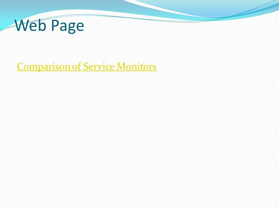 Web Page Comparison of Service Monitors