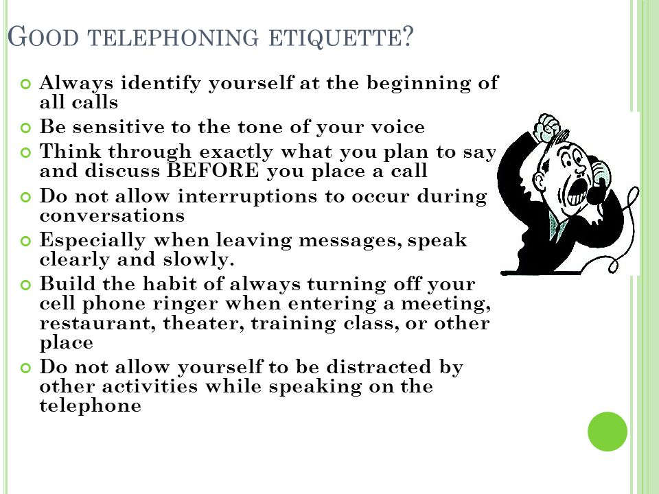Good telephoning etiquette