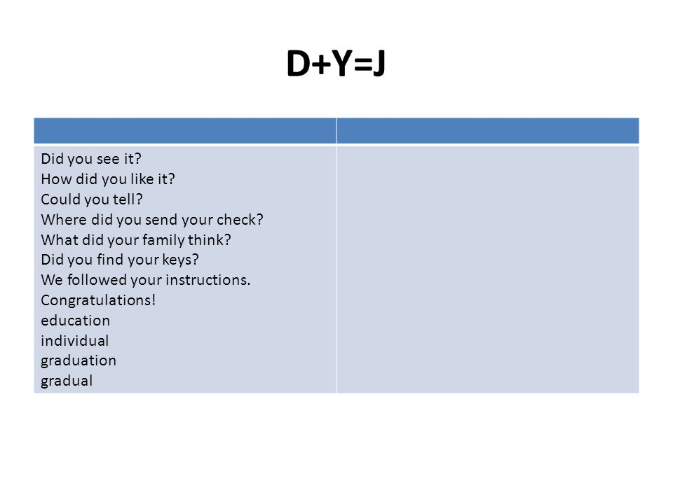 D+Y=J Did you see it How did you like it Could you tell