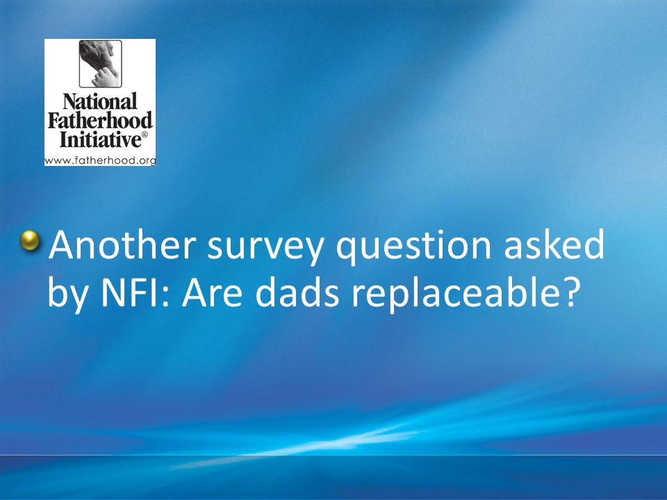 Another survey question asked by NFI: Are dads replaceable
