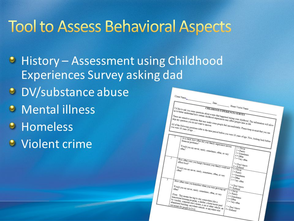 Tool to Assess Behavioral Aspects