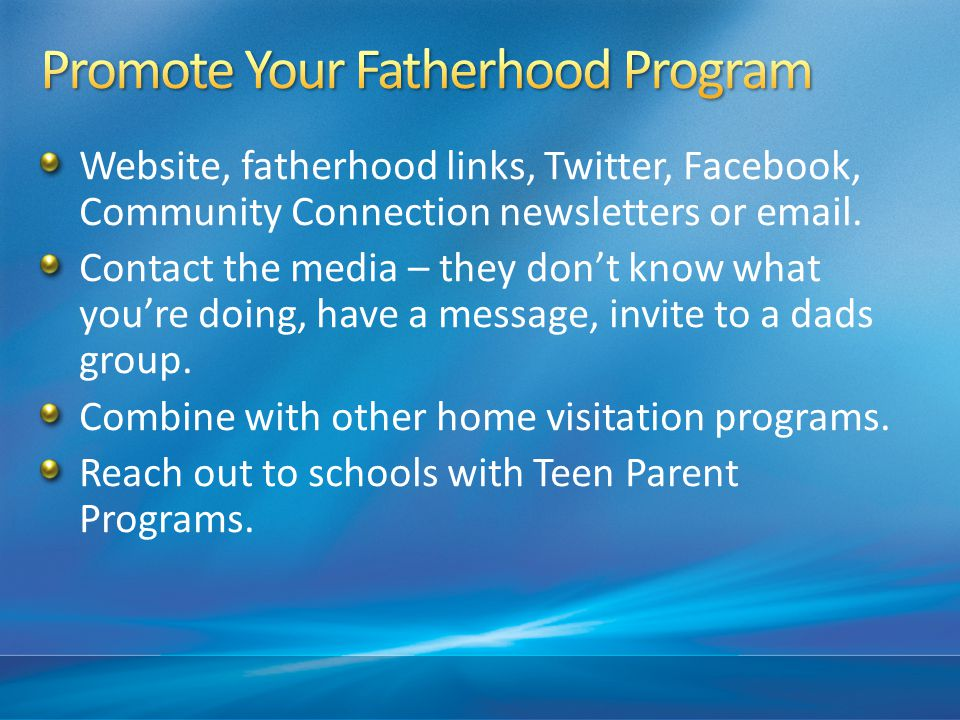 Promote Your Fatherhood Program