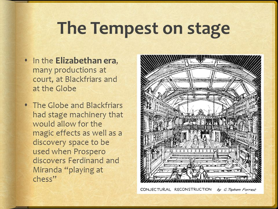 The Tempest on stage In the Elizabethan era, many productions at court, at Blackfriars and at the Globe.