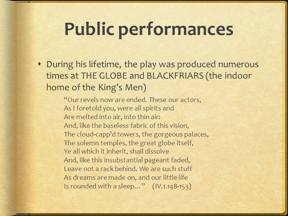 Public performances During his lifetime, the play was produced numerous times at THE GLOBE and BLACKFRIARS (the indoor home of the King's Men)