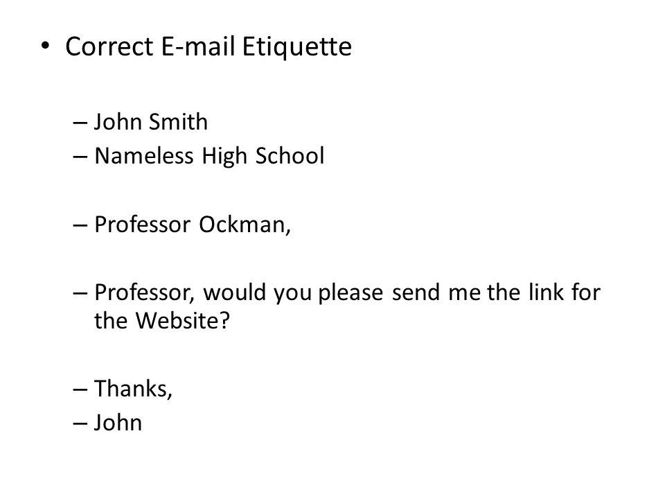 Correct E-mail Etiquette