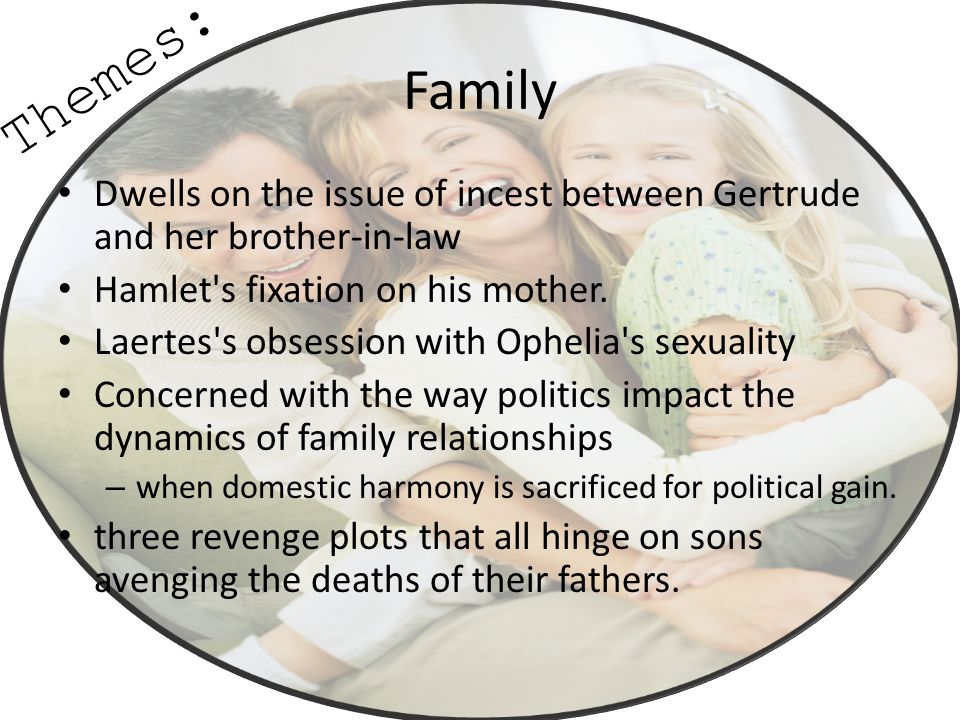 Themes: Family. Dwells on the issue of incest between Gertrude and her brother-in-law. Hamlet s fixation on his mother.