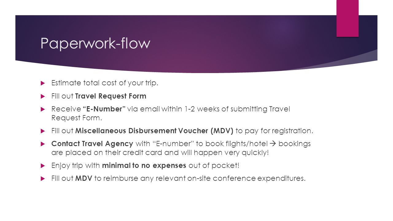 Paperwork-flow Estimate total cost of your trip.