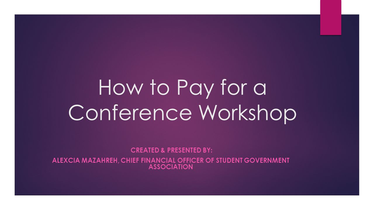 How to Pay for a Conference Workshop