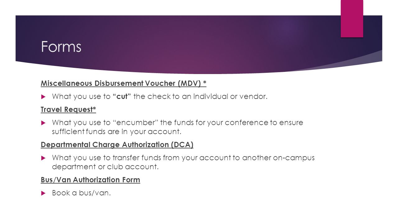 Forms Miscellaneous Disbursement Voucher (MDV) *