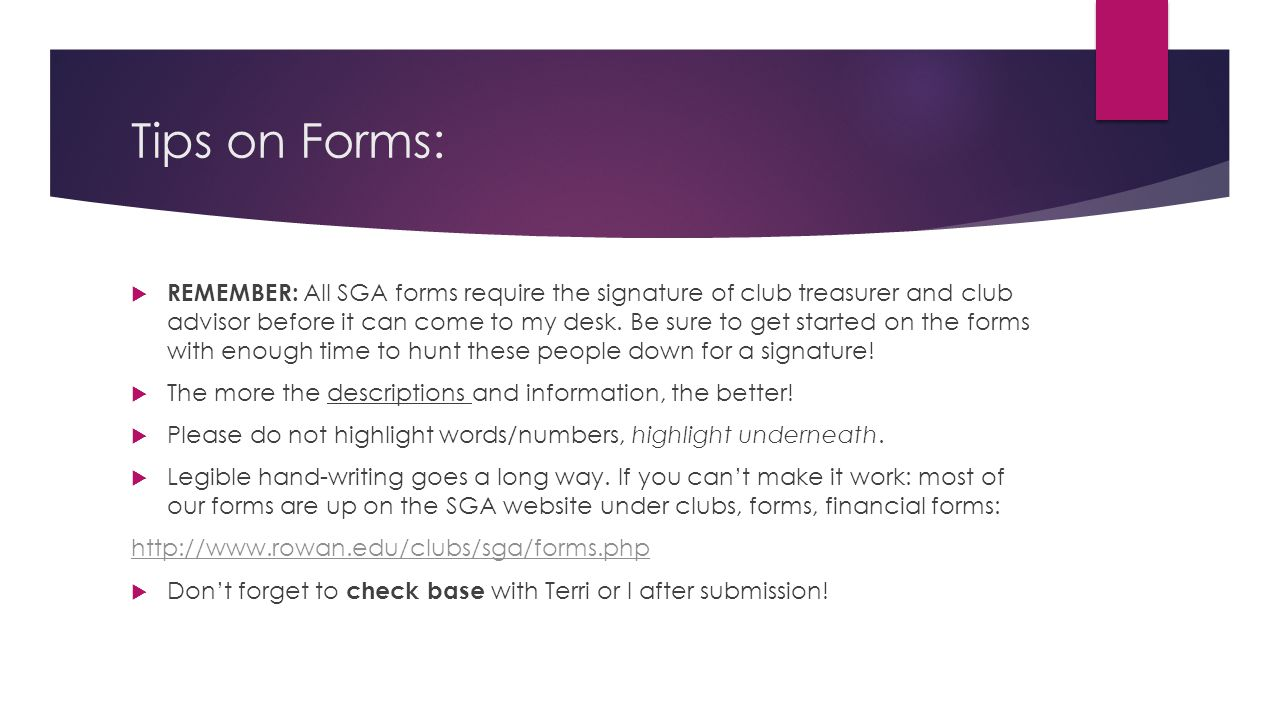 Tips on Forms: