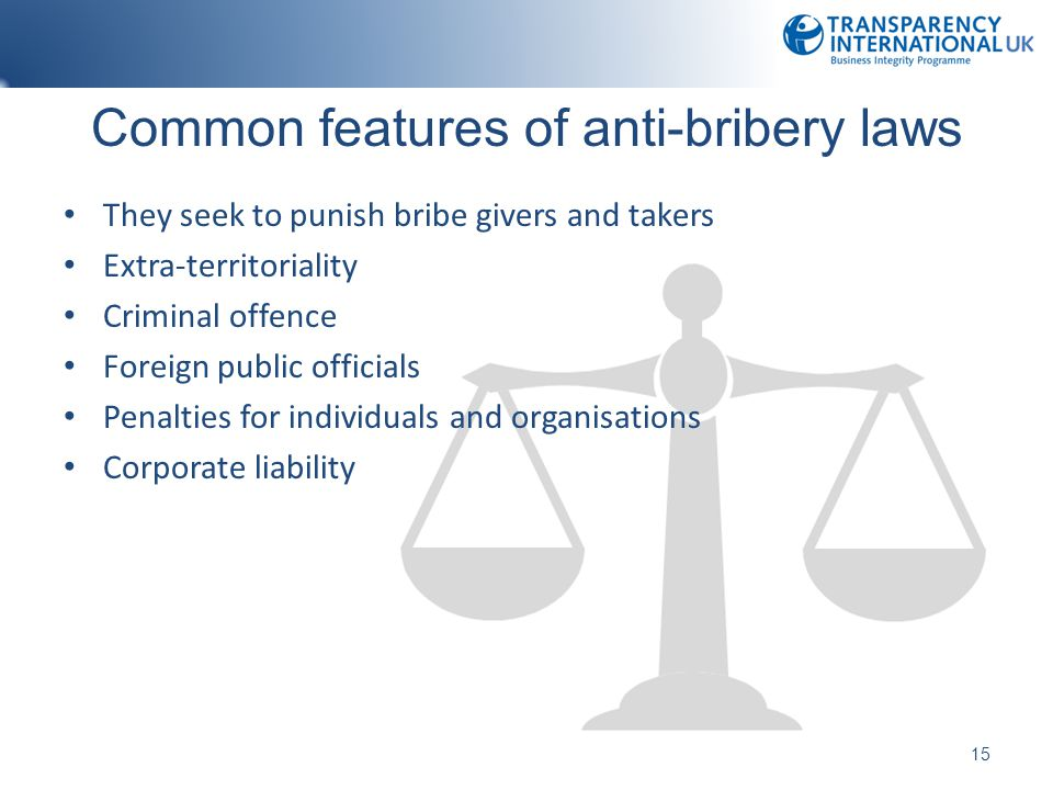 Common features of anti-bribery laws