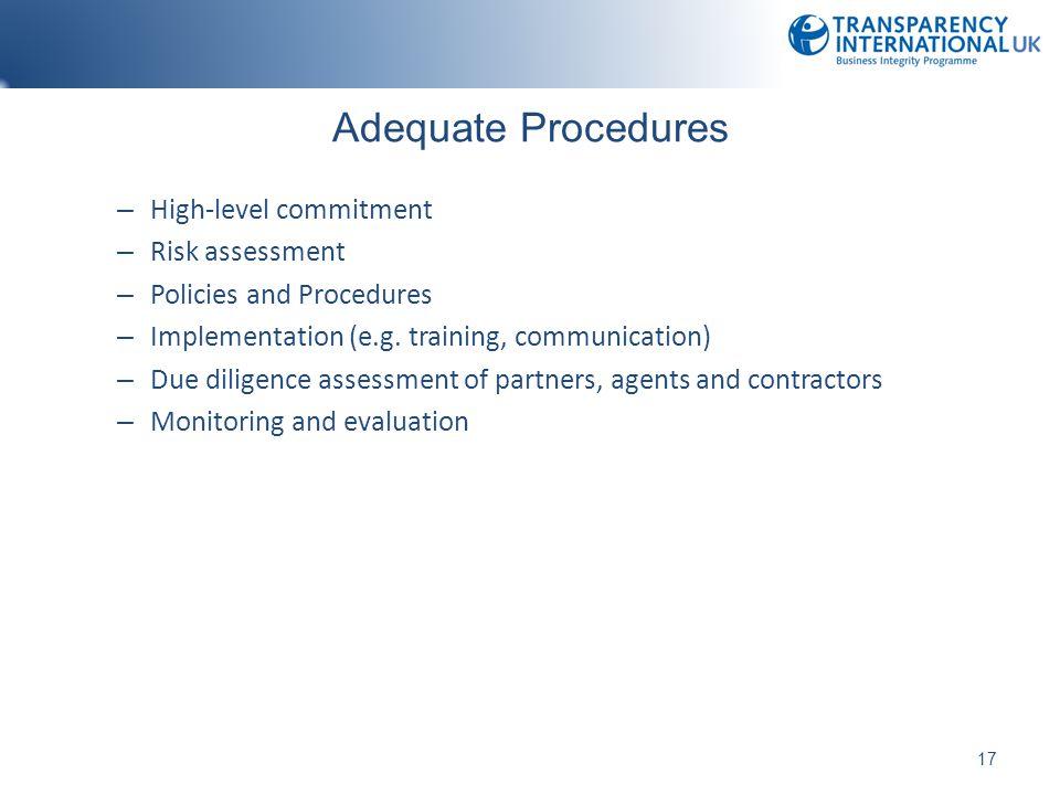 Adequate Procedures High-level commitment Risk assessment