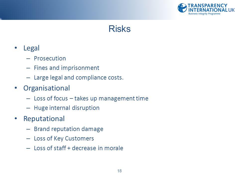 Risks Legal Organisational Reputational Prosecution
